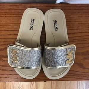 Girls MK gold slides